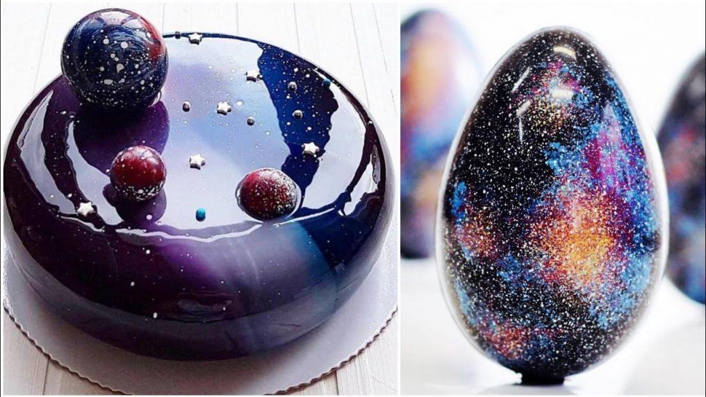Galaxy Mirror Glaze Cakes Tutorial | Galaxy Cake Decorating