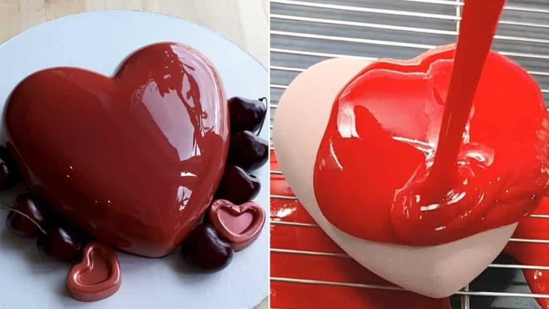 HEART MIRROR GLAZE CAKE DECORATING HACKS